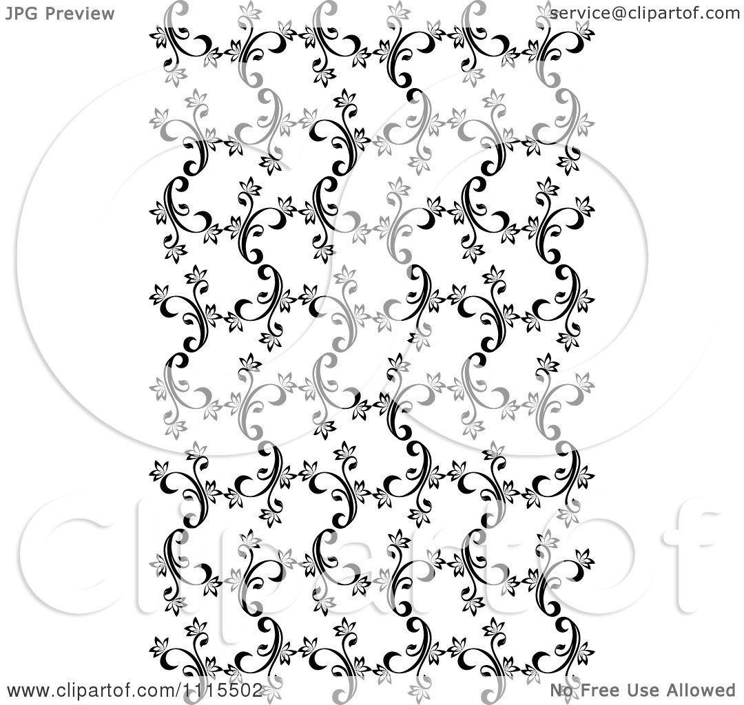 Black Flower On White Background Royalty Free Stock: Clipart Seamless Black And White Floral Vine Background
