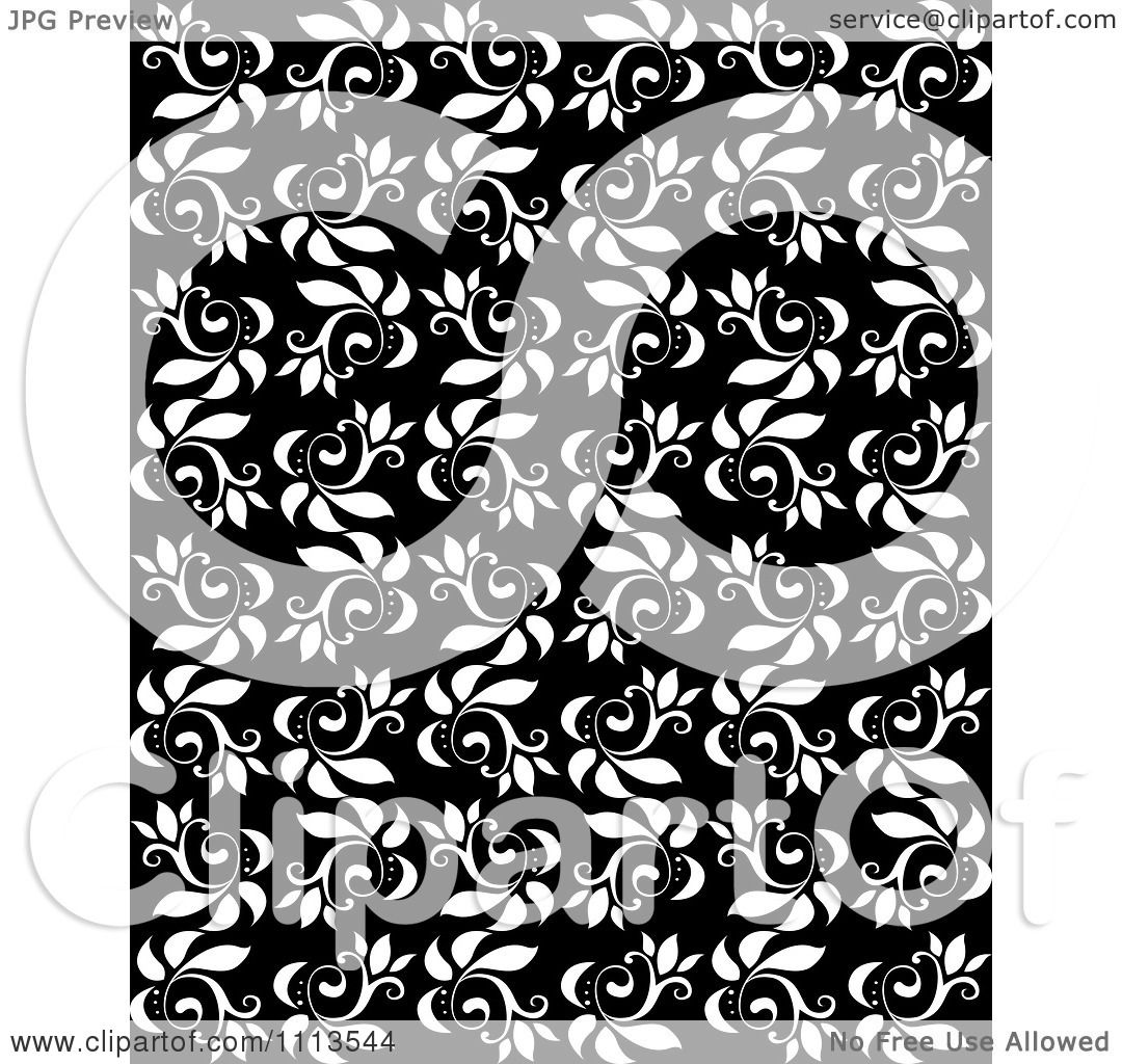 Clipart Seamless Pink Purple And Green Floral Burst: Clipart Seamless Black And White Floral Vine Background