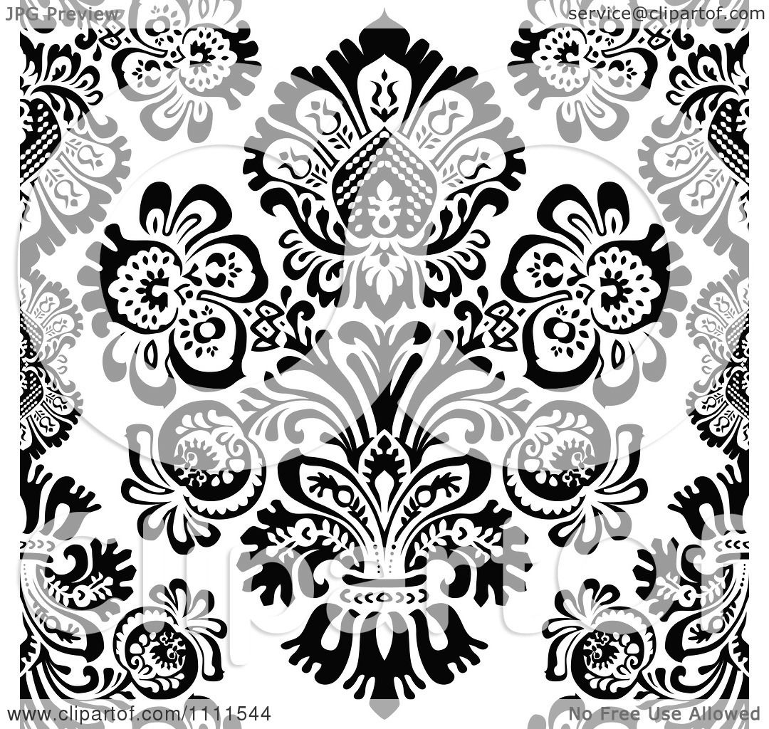 Black Flower Pattern Stock Images: Clipart Seamless Black And White Vintage Floral Pattern 1