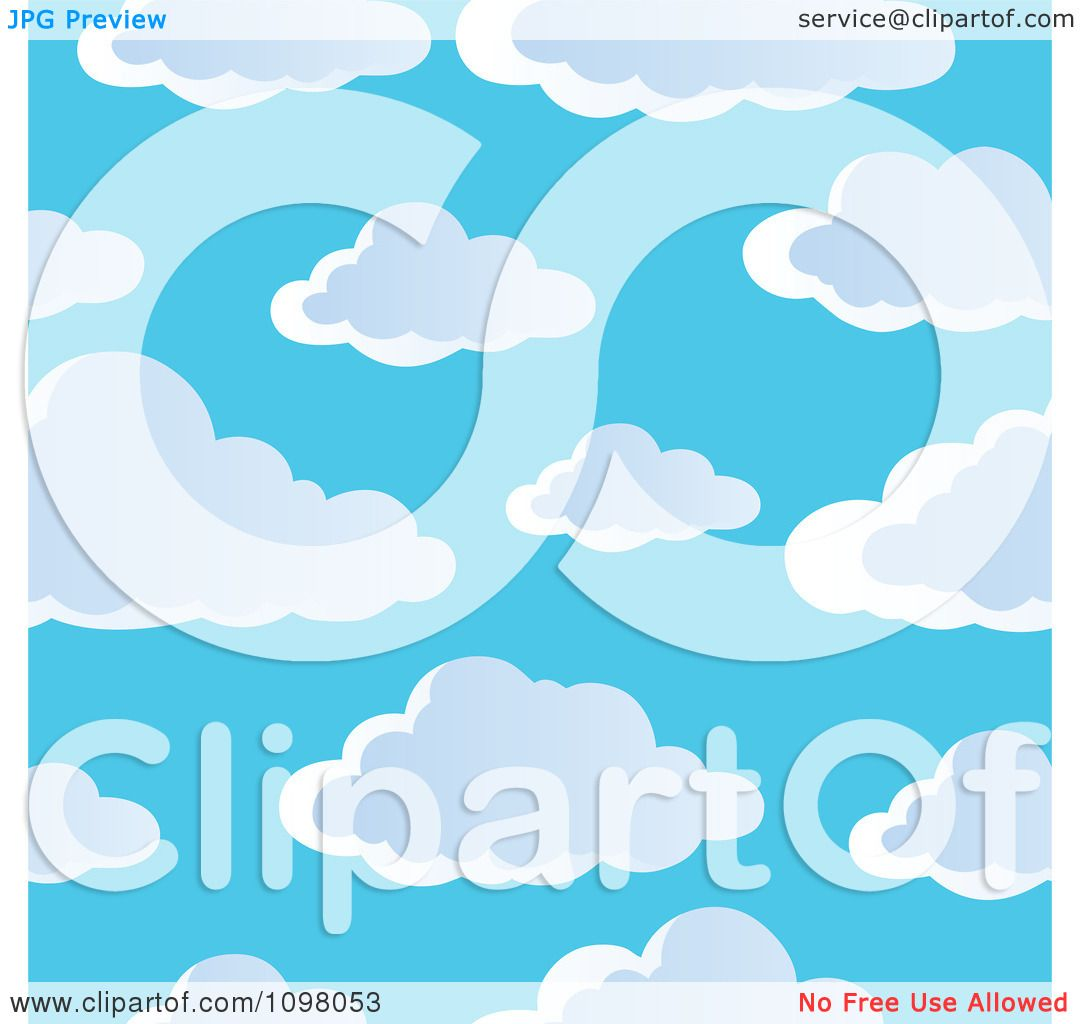 Clipart Seamless Pink Purple And Green Floral Burst: Clipart Seamless Cloudy Blue Sky Background