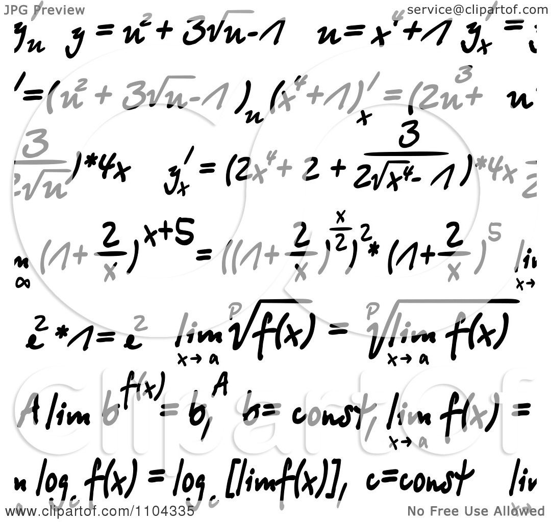 Clipart Seamless Math Formulas Written On White - Royalty