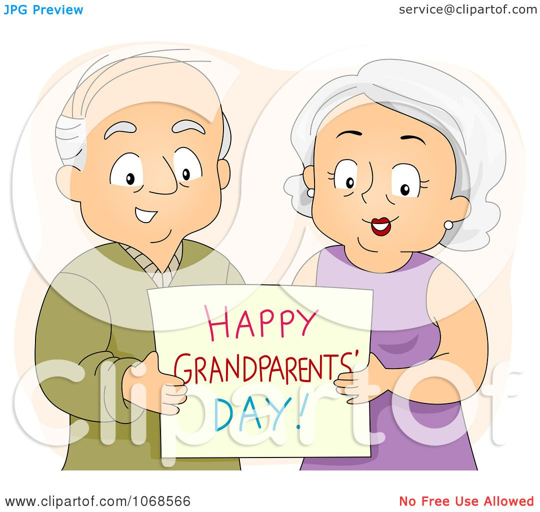 Clipart Seniors Holding A Happy Grandparents Day Card - Royalty ...