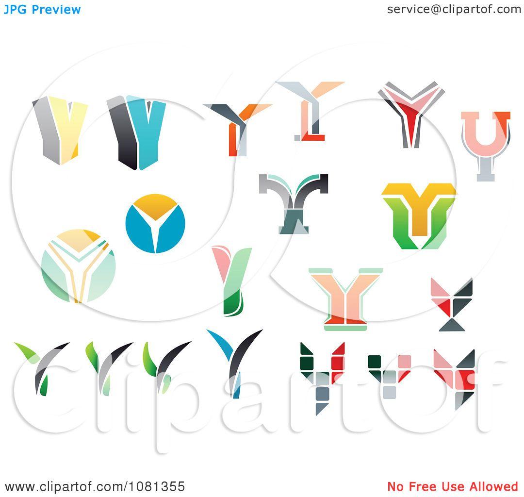 Colorful Letter V Logo: Clipart Set Of Colorful Letter Y Logos