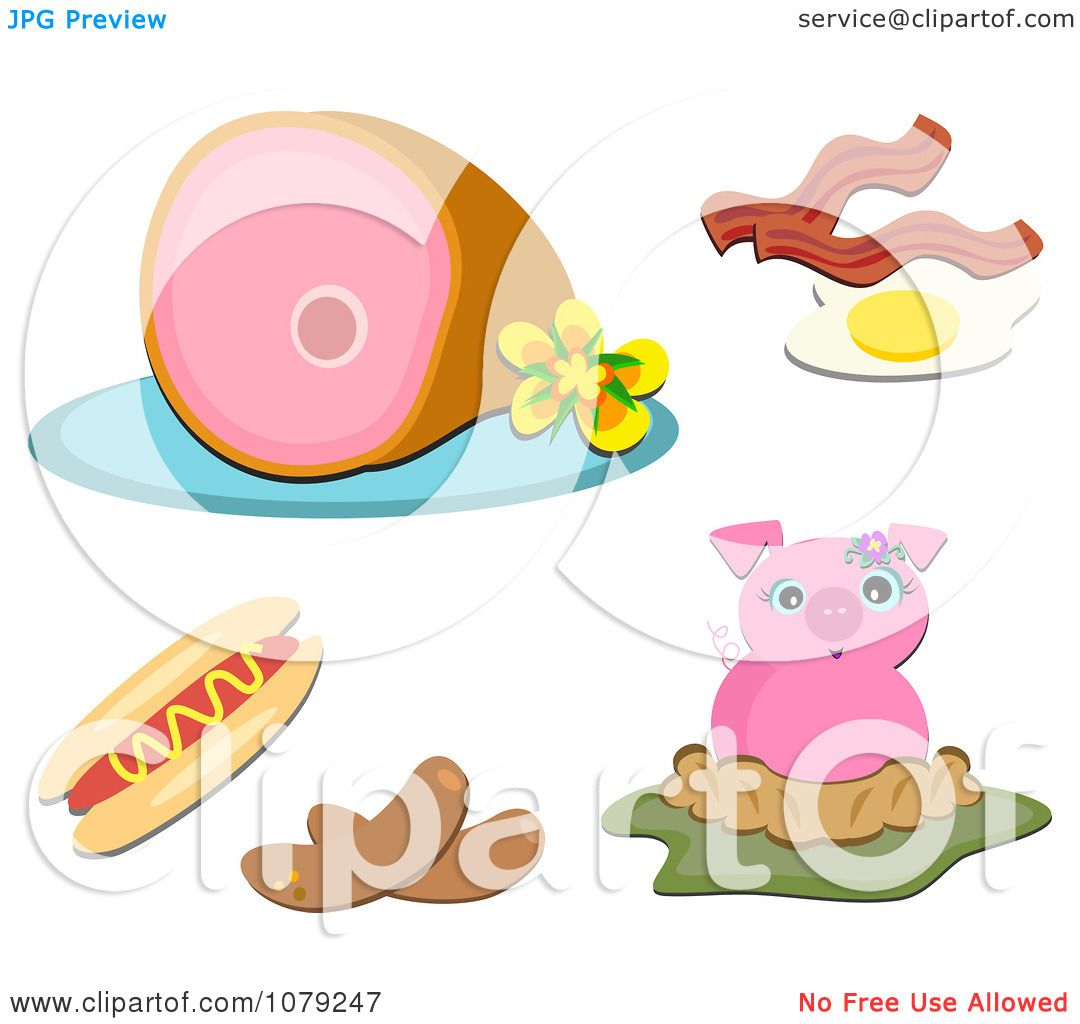 Pig Eating Clipart