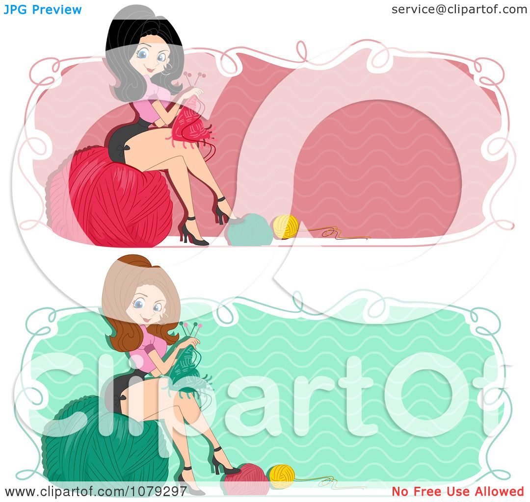 Woman Knitting Clipart : Clipart set of retro pinup knitting woman website banners