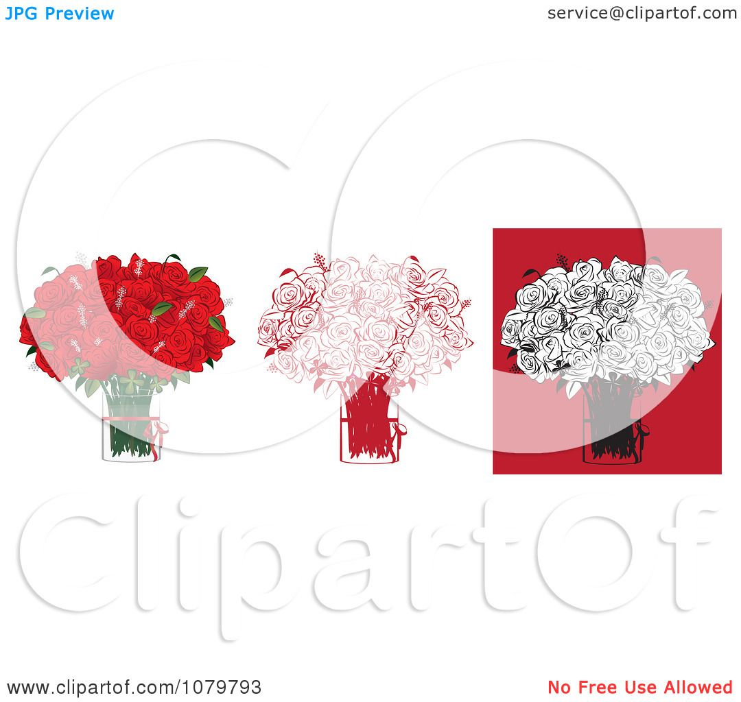 Clipart Sets Of Two Dozen Red And Black Floral Arrangements Of Roses ...