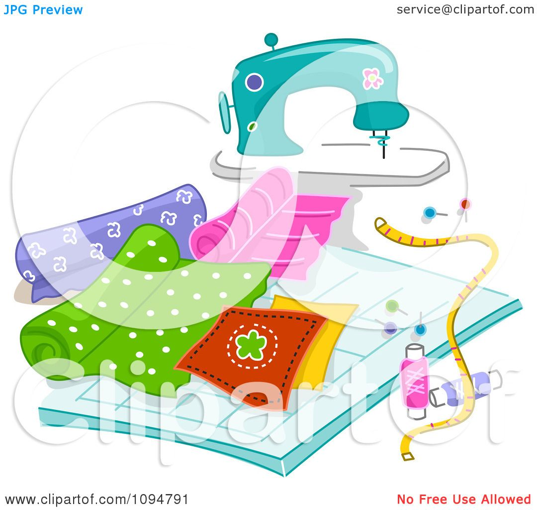 Clipart Sewing Machine With Quilting Fabric Royalty Free Vector Illustration By BNP Design