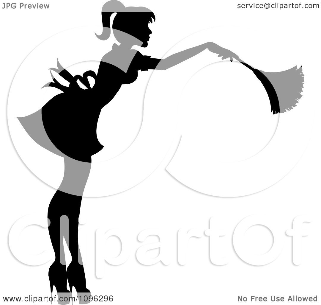 Clipart sexy black silhouetted fench maid house keeper or for Free clipart no copyright
