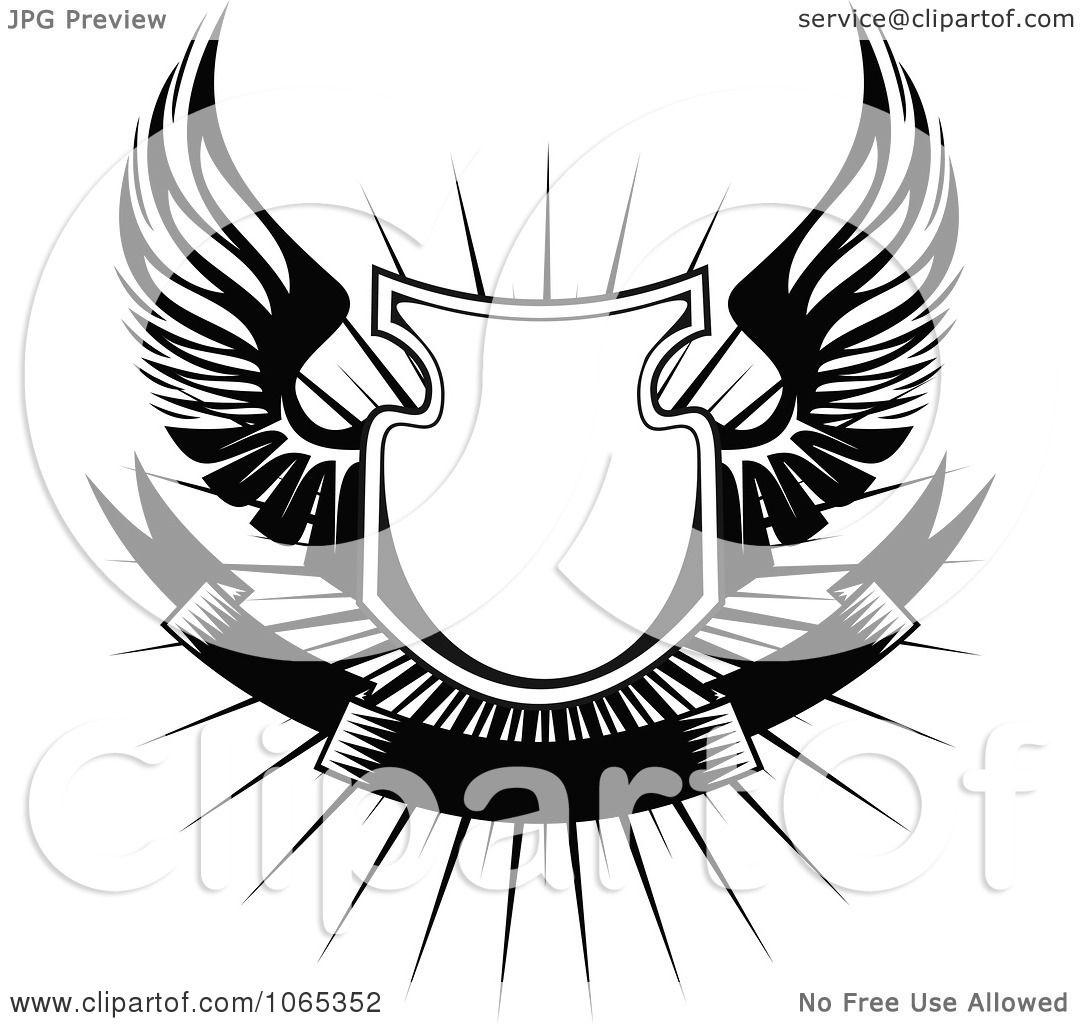 Shield With  Eagle Wings Clipart
