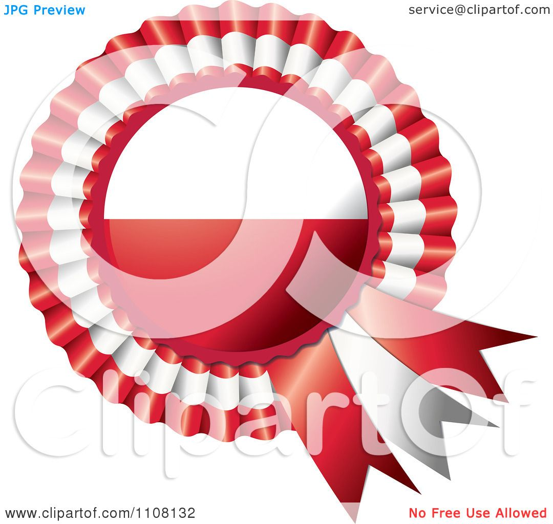 clipart shiny polish flag rosette bowknots medal award royalty