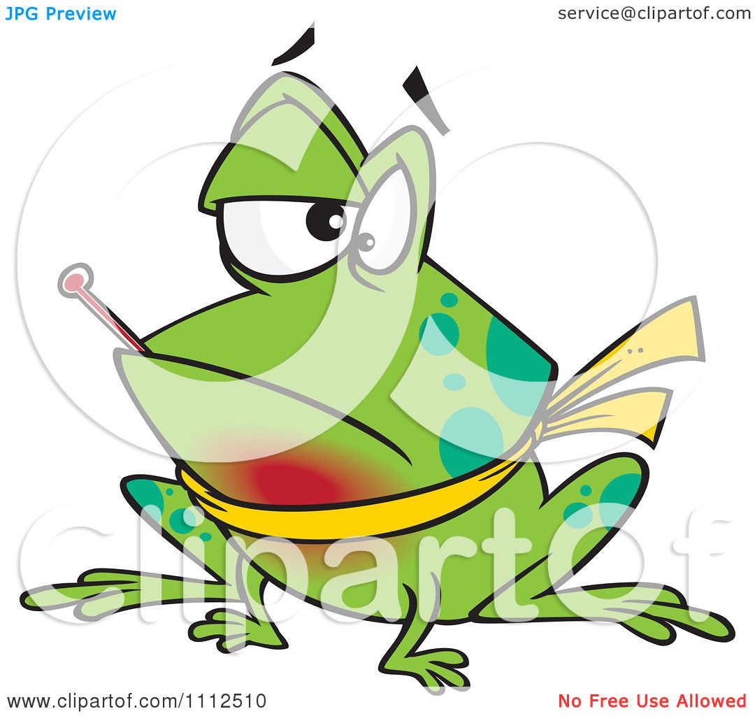 clipart sick frog with a sore throat and a fever royalty