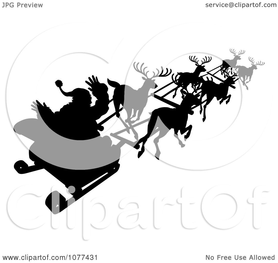 Santa And Reindeer Silhouette Png Clipart Silhouette Of Santa