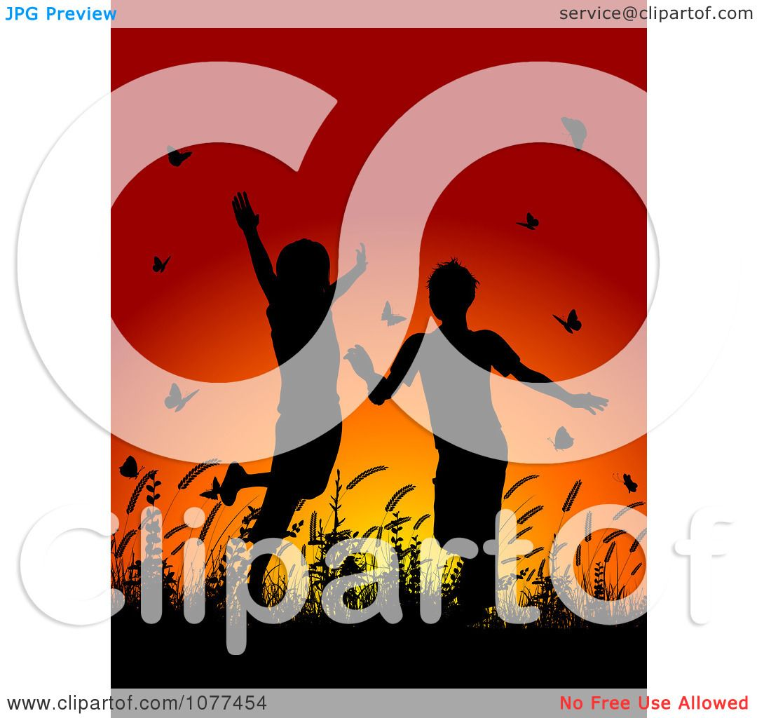 Clipart Silhouetted Children Playing In Grass And Butterflies At Sunset -  Royalty Free Vector Illustration by KJ Pargeter