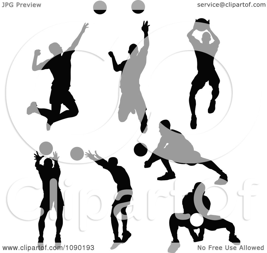 Clipart Silhouetted Male Volleyball Players - Royalty Free Vector ...