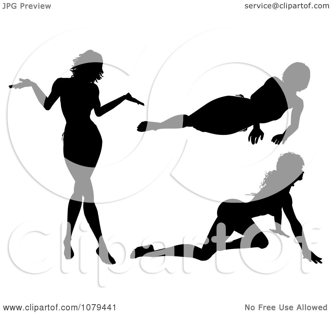 Clipart Silhouetted Sexy Women Crawling Resting And