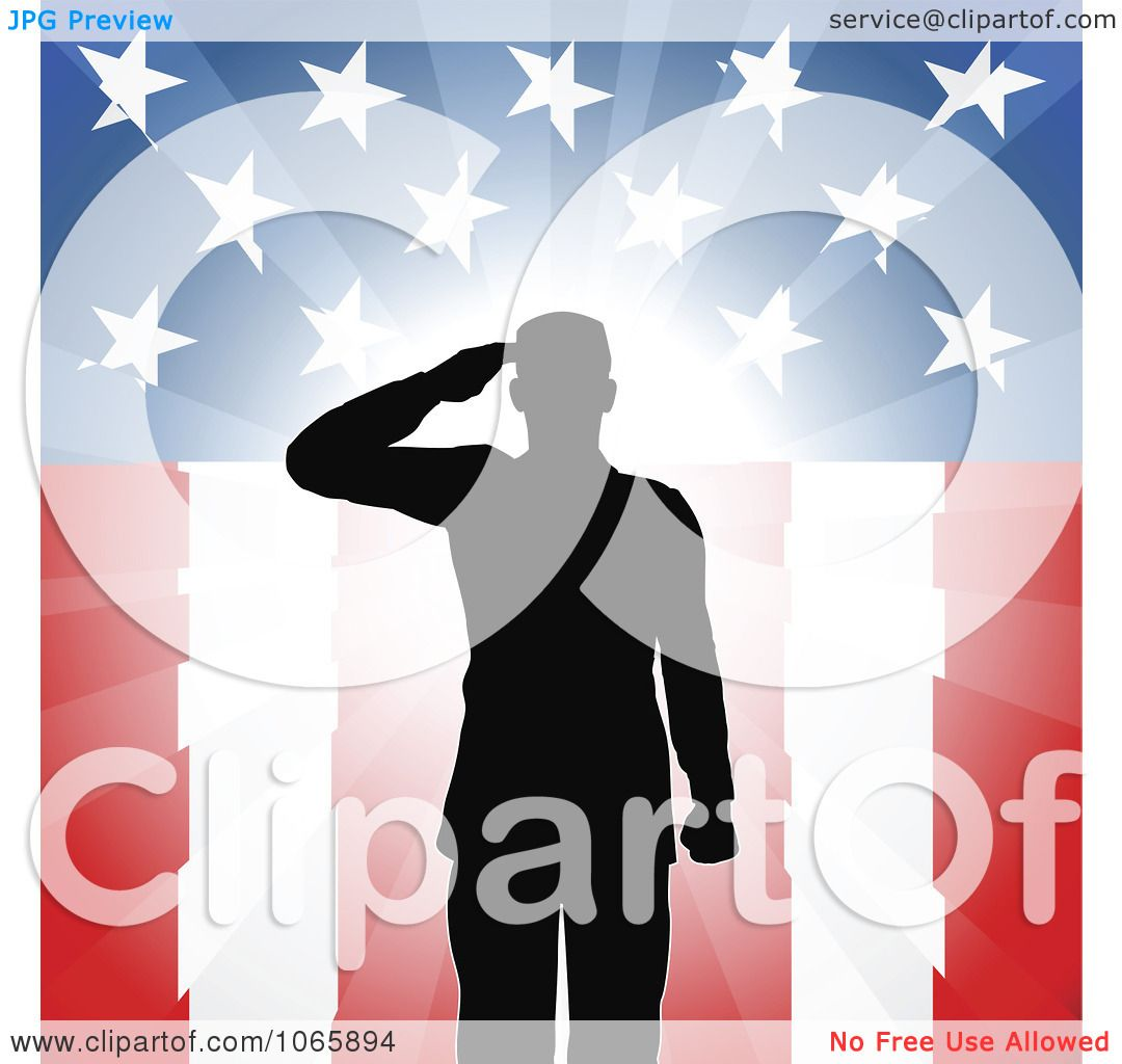 Clipart Silhouetted Soldier Saluting
