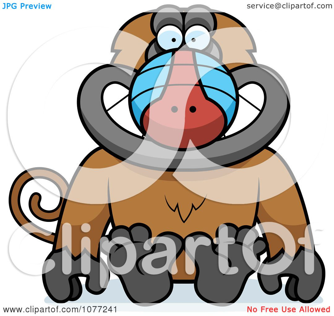 Clipart Sitting Baboon Monkey - Royalty Free Vector ...