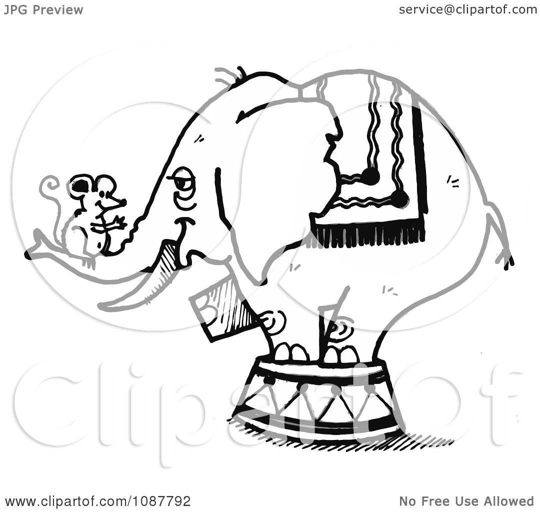 clipart sketched circus elephant with a mouse on its trunk