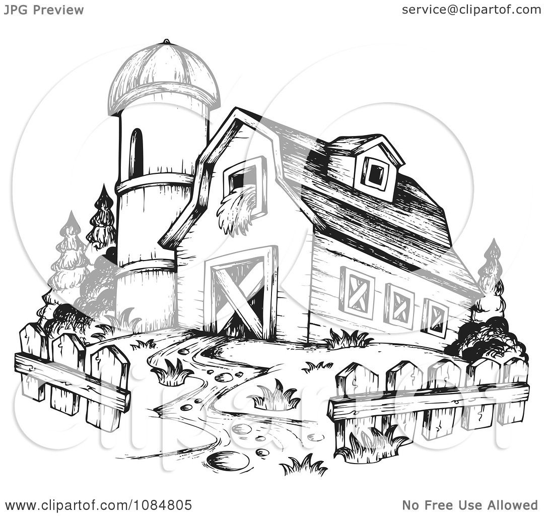 Clipart Sketched Drawing Of A Barn and Silo - Royalty Free ...