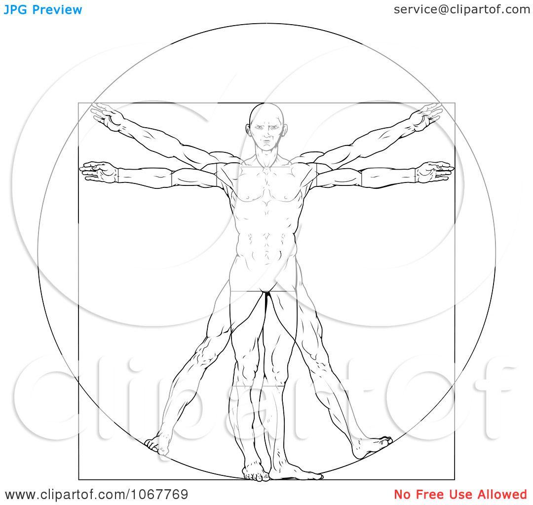 Clipart Sketched Vitruvian Man Royalty Free Vector
