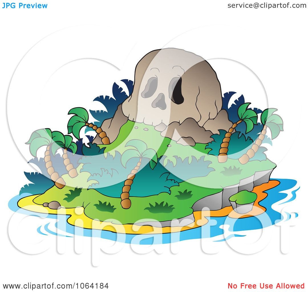 Clipart Skull Mountain Tropical Island - Royalty Free Vector ...
