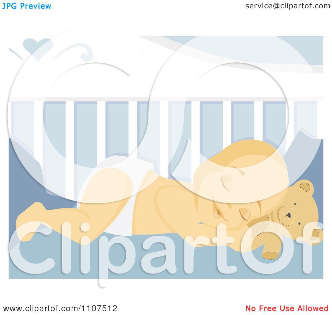 Clipart Sleeping Baby Boy Resting His Head On His Teddy ...