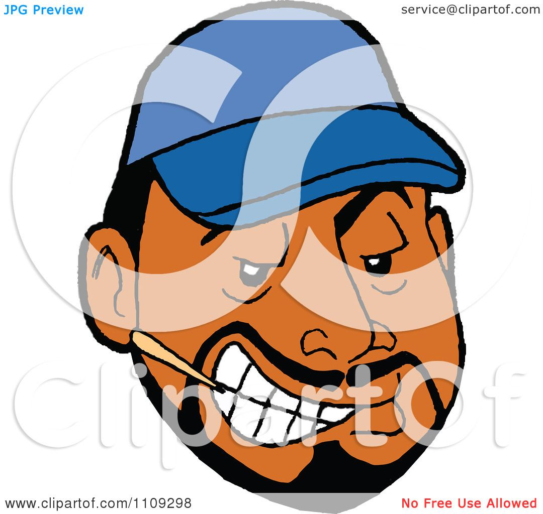 clipart sly black man with a goatee wearing a blue baseball cap and
