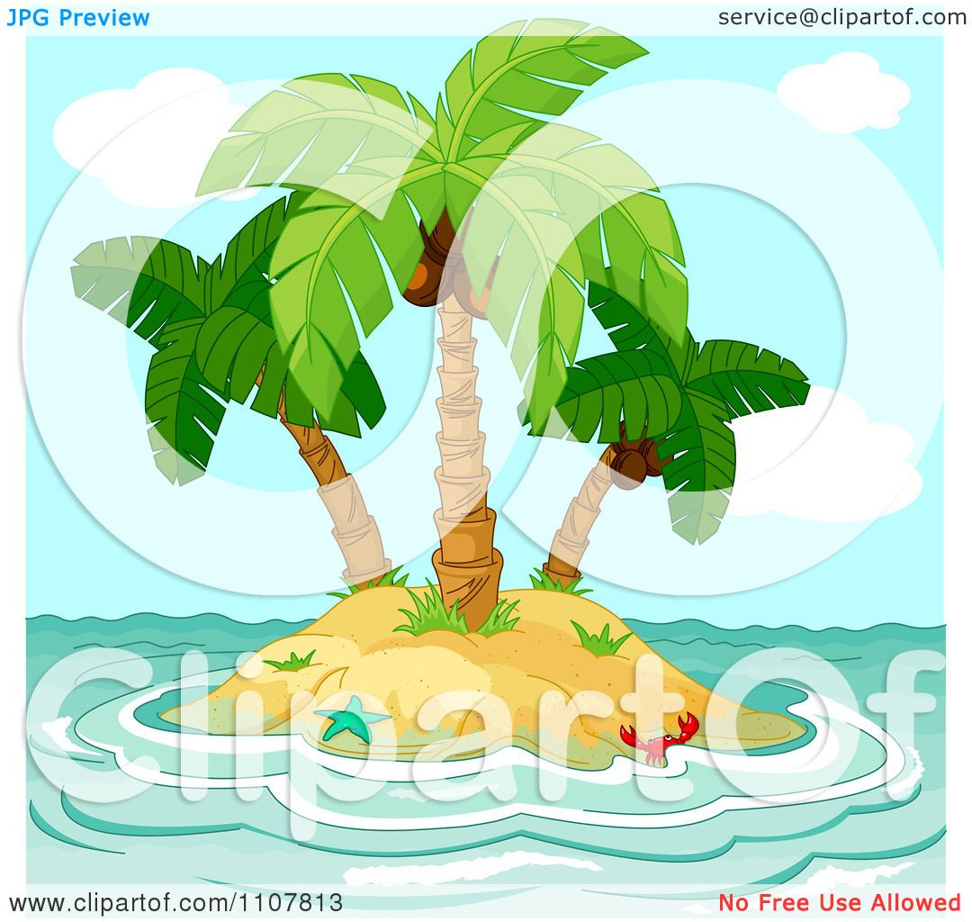 Clipart Small Tropical Island With Coconut Palm Trees And Choppy ...