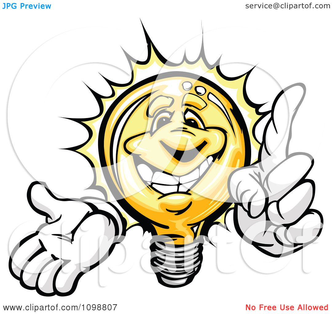 Clipart Smart Yellow Light Bulb With A Bright Idea - Royalty Free ...