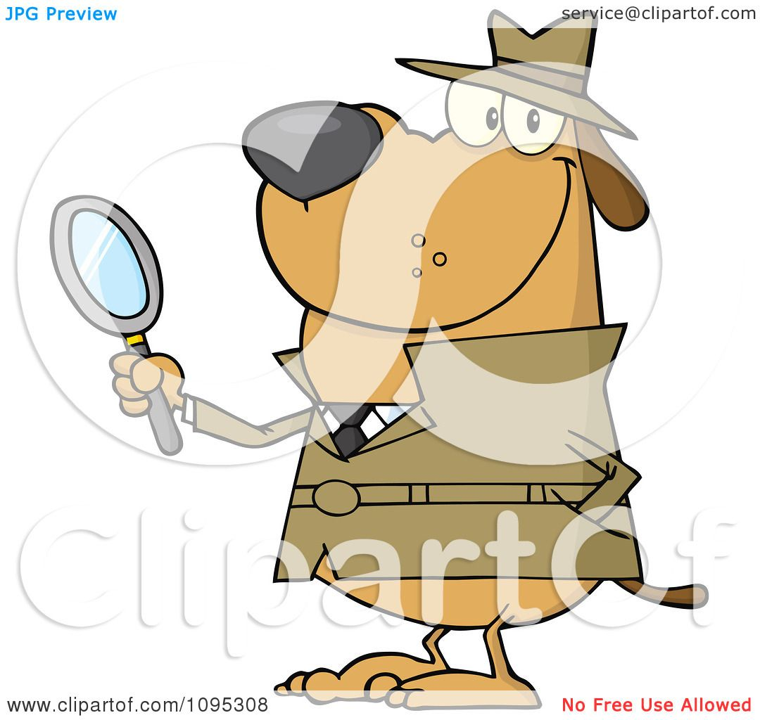 Clipart Smiling Detective Dog Holding A Magnifying Glass - Royalty ...