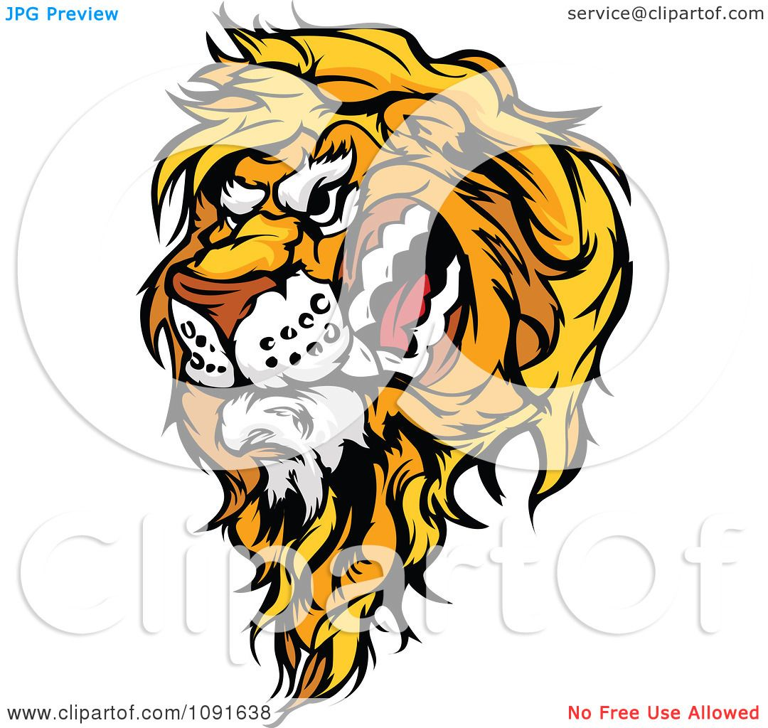 Clipart Snarling Male Lion Mascot Head - Royalty Free Vector ...