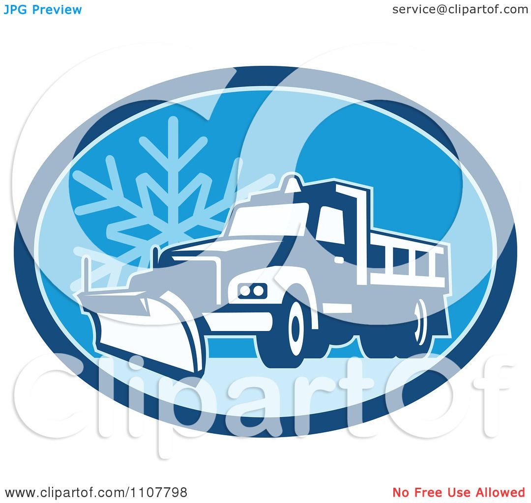 Clipart Snow Plow Truck On A Road In A Blue Oval With A Snowflake ...