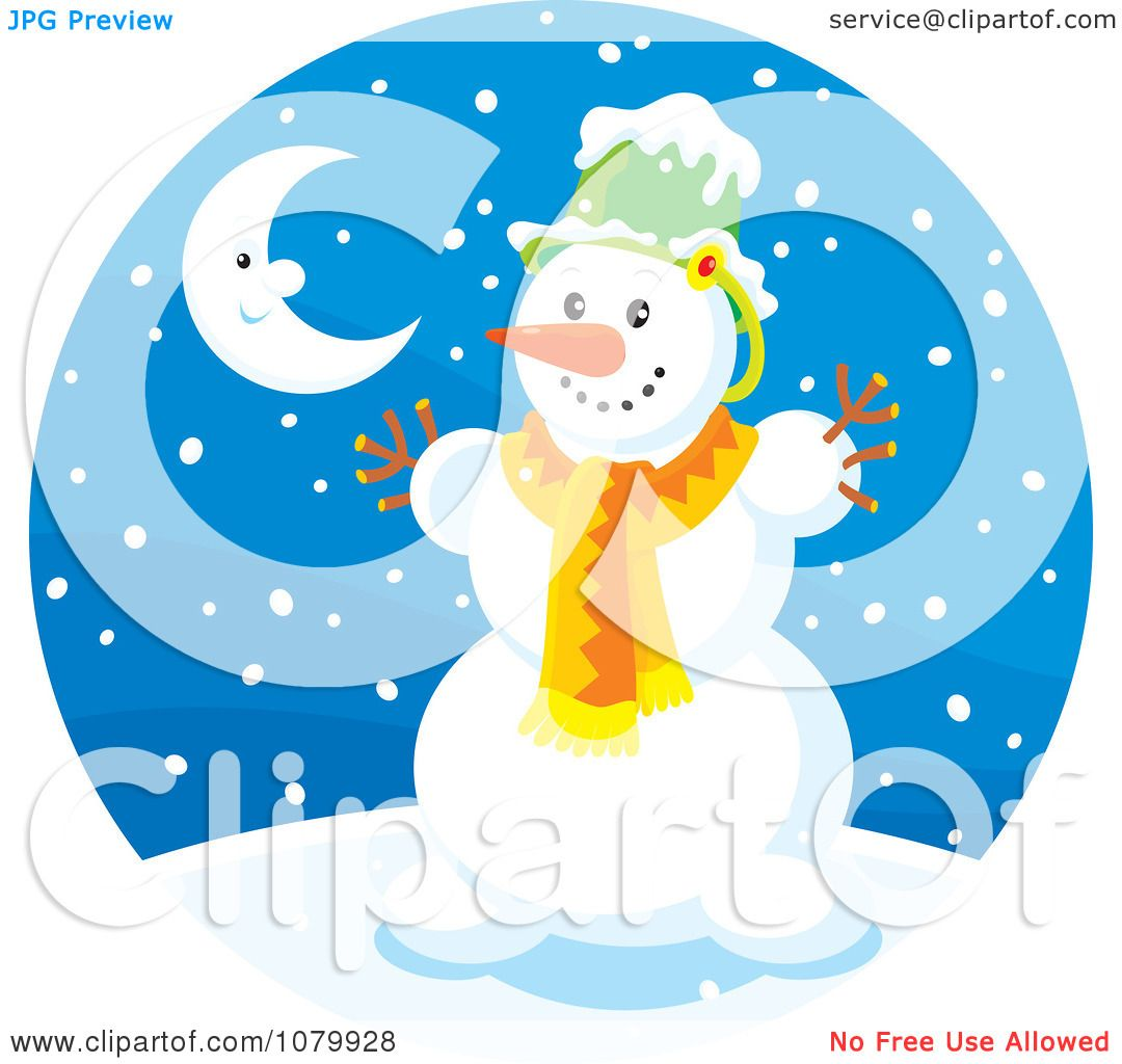 Clipart Snowman And Crescent Moon On A Snowing Winter Night ...