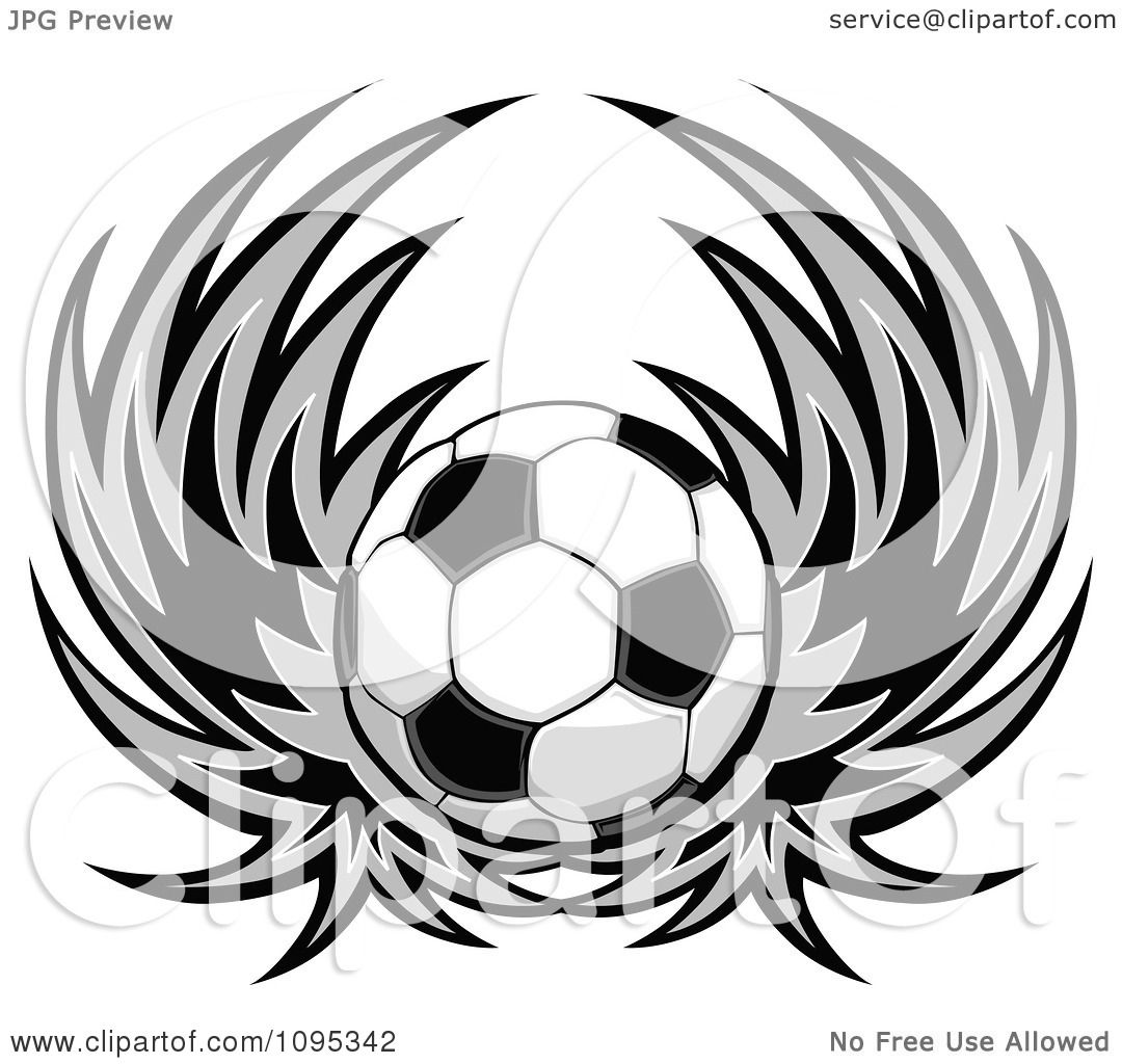 Clipart Soccer Ball With Wings - Royalty Free Vector ...