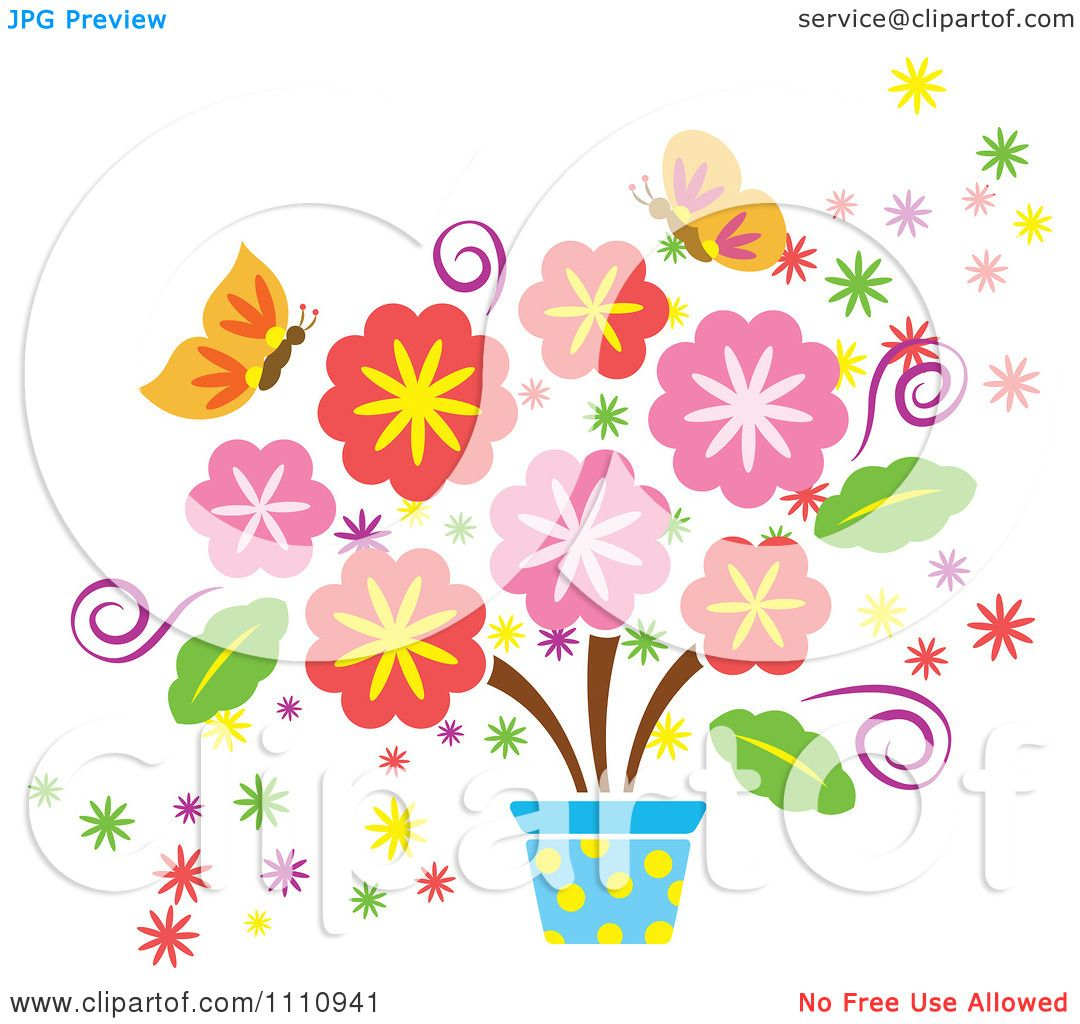 Clipart Spring Flowers In A Pot And Butterflies Royalty Free