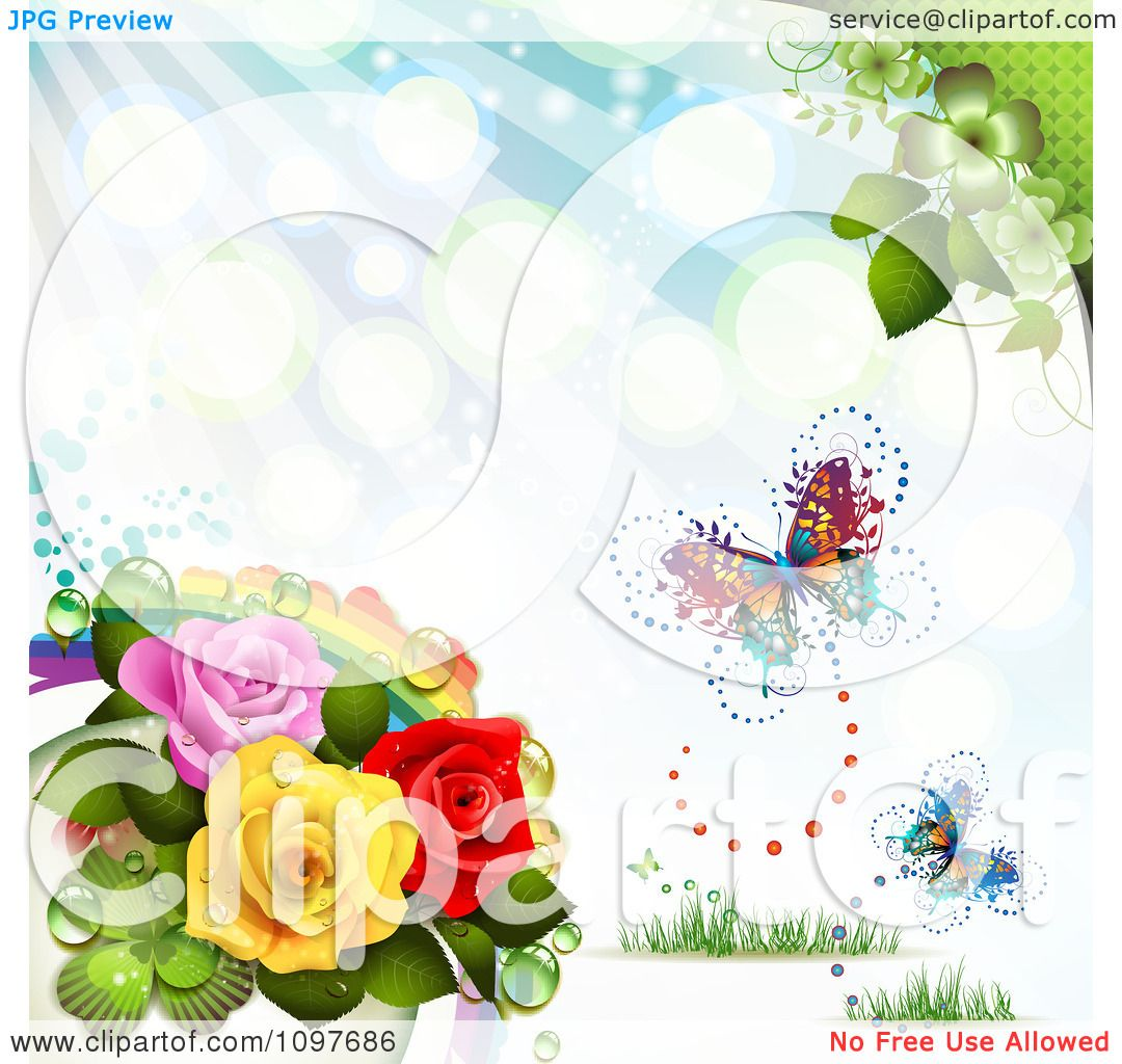 Clipart Spring Time Or Wedding Background With A Rainbow ...