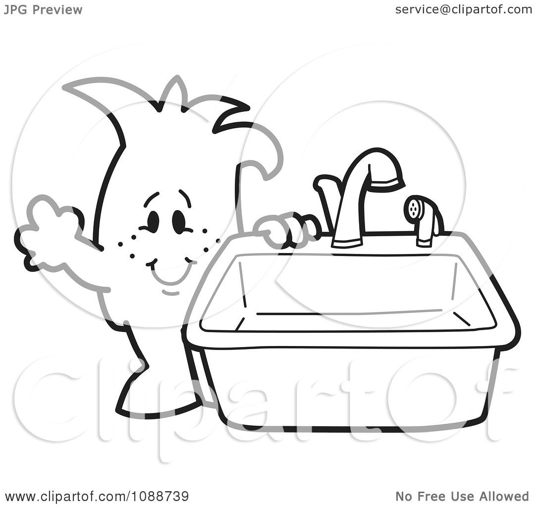 Clipart Squiggle Guy Standing By A Kitchen Sink