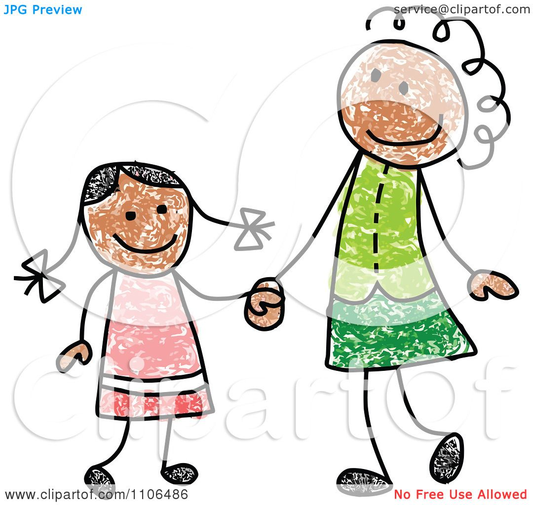Clipart Stick Drawing Of A Happy Black Mother And Daughter Holding