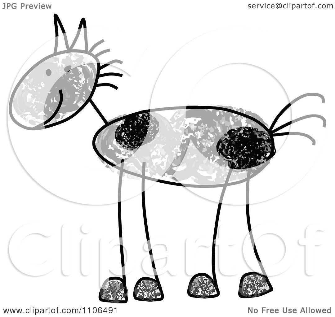 White Mustang Horse Drawing
