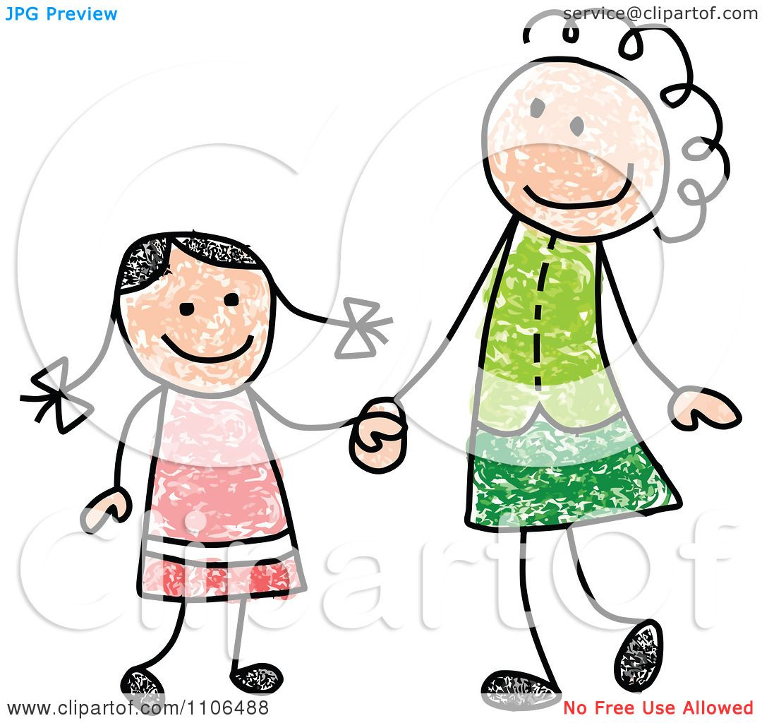Clipart Stick Drawing Of A Happy White Mother And Daughter