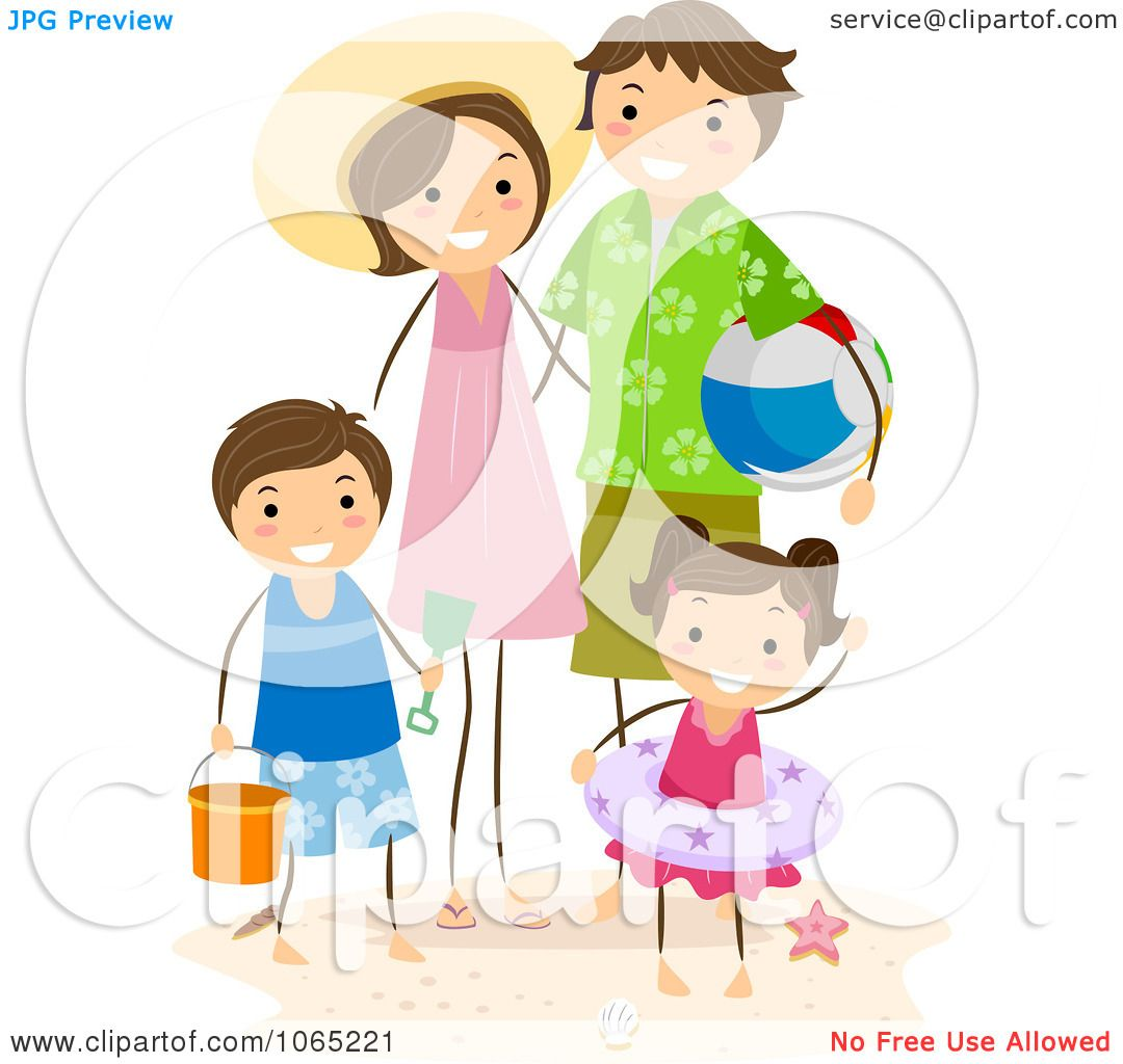Clipart Stick Family At The Beach Royalty Free Vector Illustration
