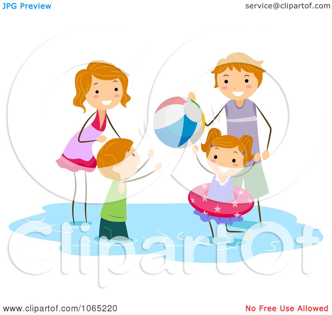 Clipart Stick Family Playing At The Beach - Royalty Free ...