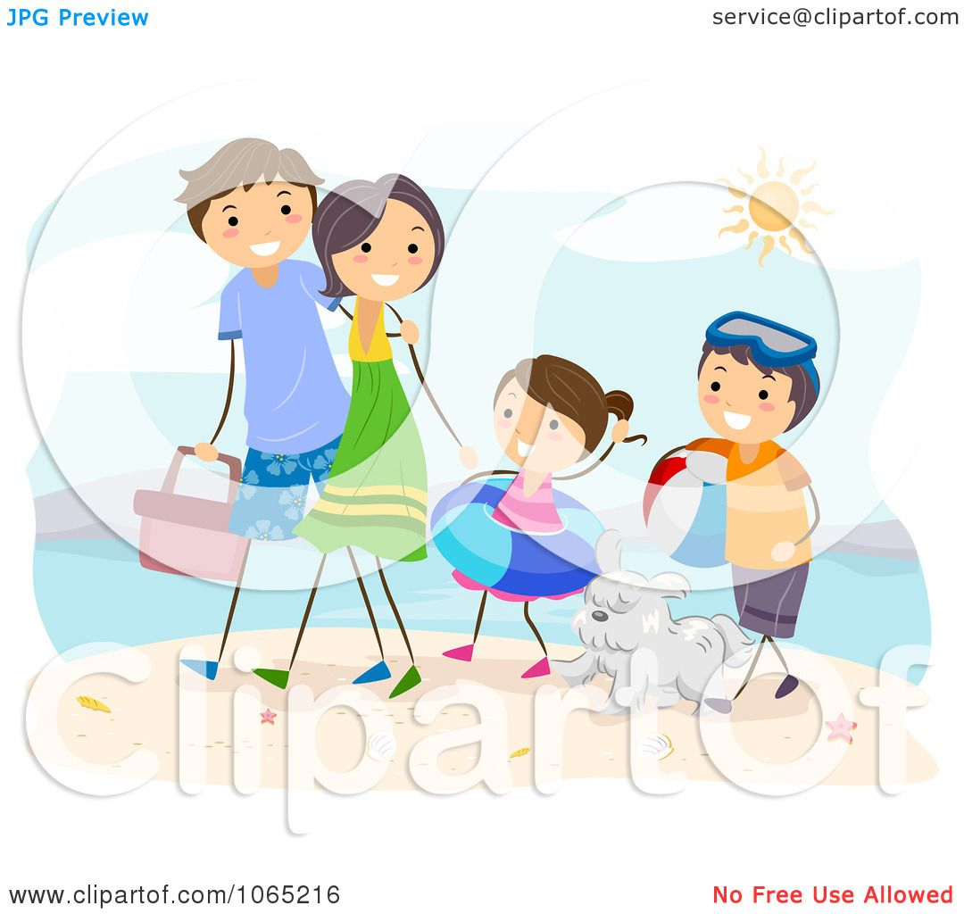 Clipart Stick Family Walking At The Beach - Royalty Free ...