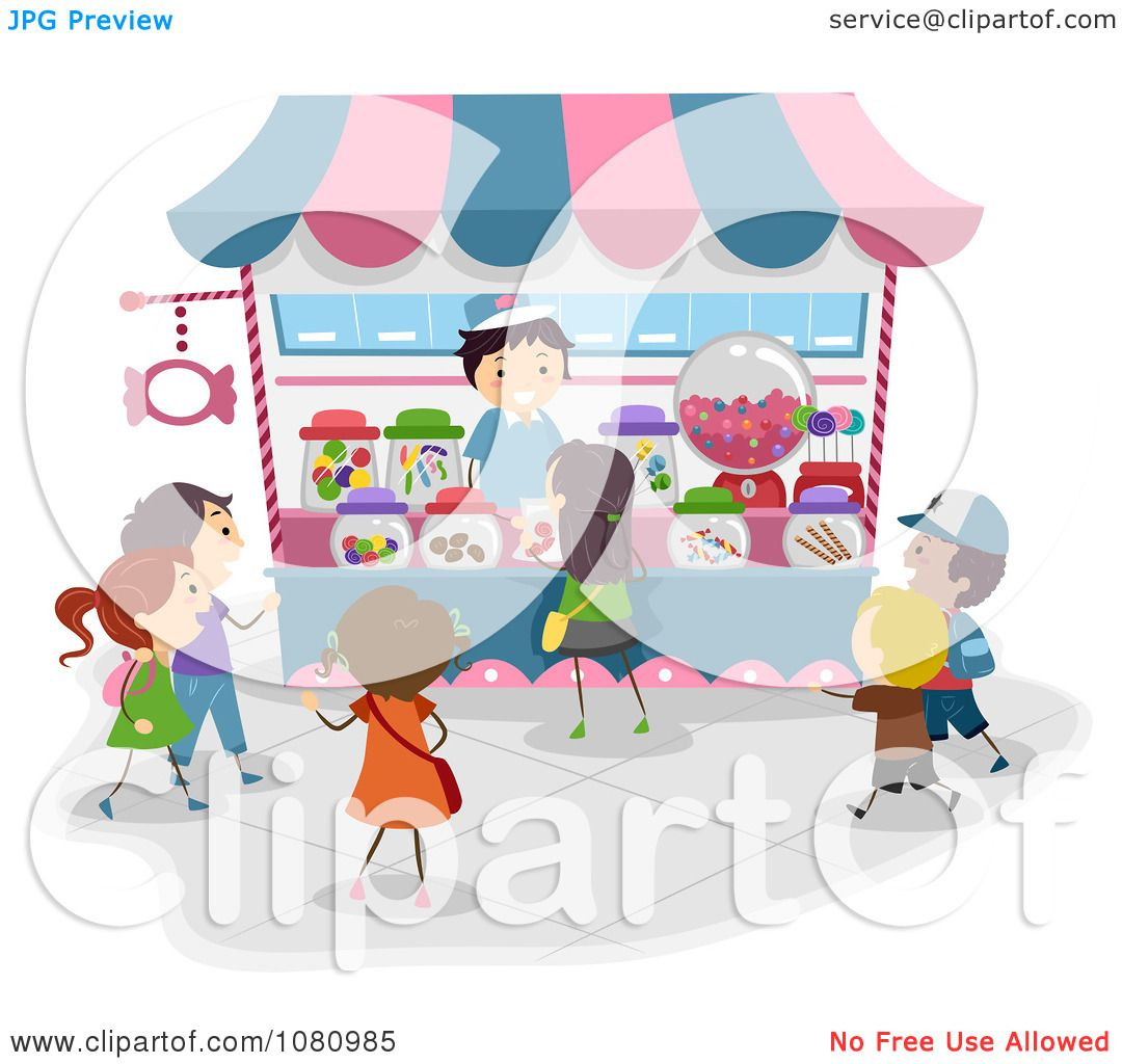 Clipart Stick Kids Lining Up At A Candy Kiosk - Royalty ...