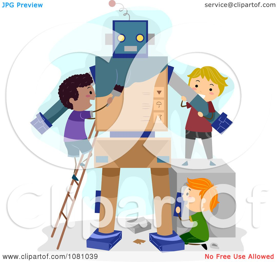 Clipart Stick Kids Making A Robot Royalty Free Vector
