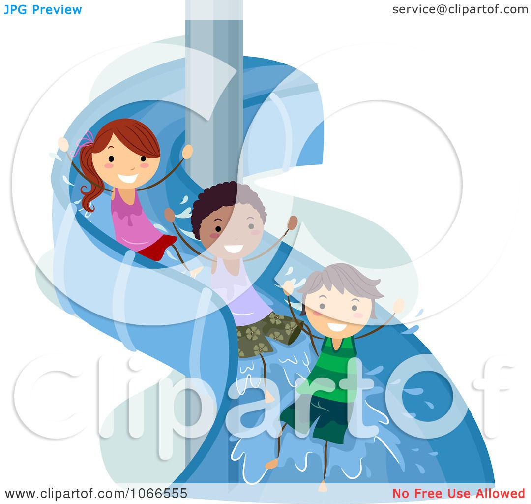 Inflatable Slide Clip Art: Clipart Stick Kids On A Water Slide