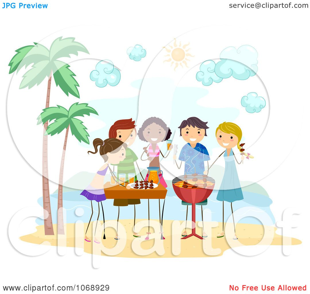 Clipart Stick People Having A Bbq Party On The Beach - Royalty Free Vector ...