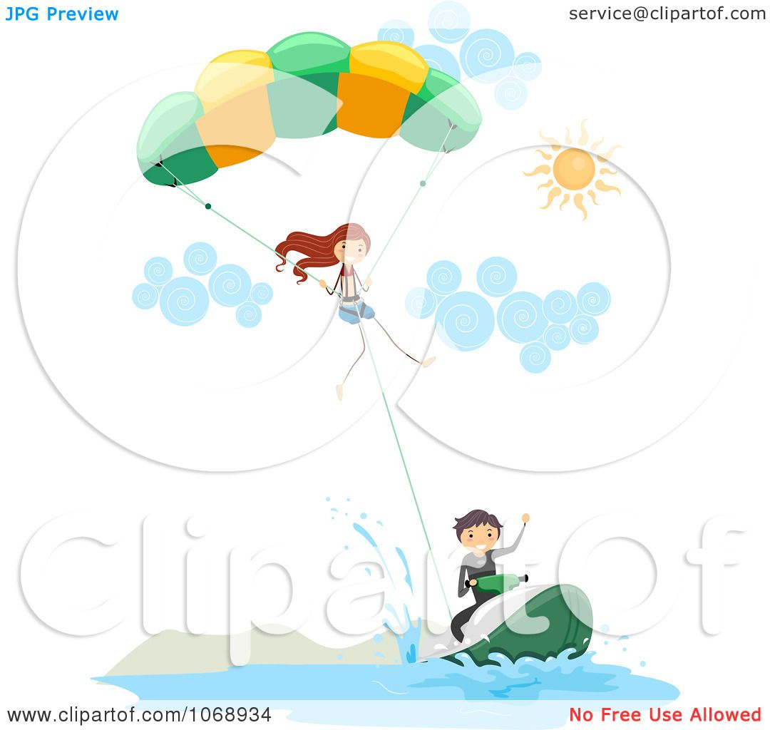 Clipart Stick People Parasailing - Royalty Free Vector ...