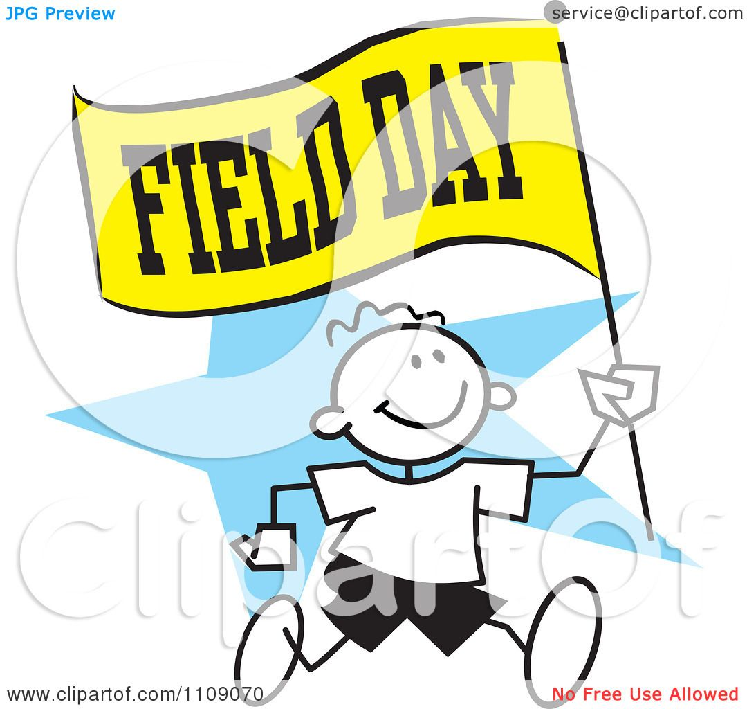 clipart sticker boy running with a field day flag over a blue star rh clipartof com field day clipart field day clipart black and white
