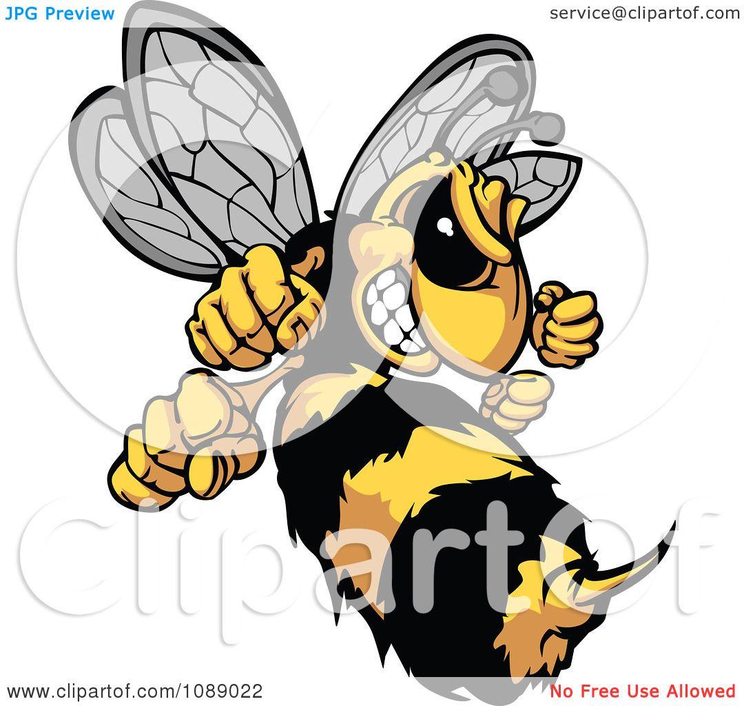Clipart Stinging Hornet Mascot Royalty Free Vector Illustration By